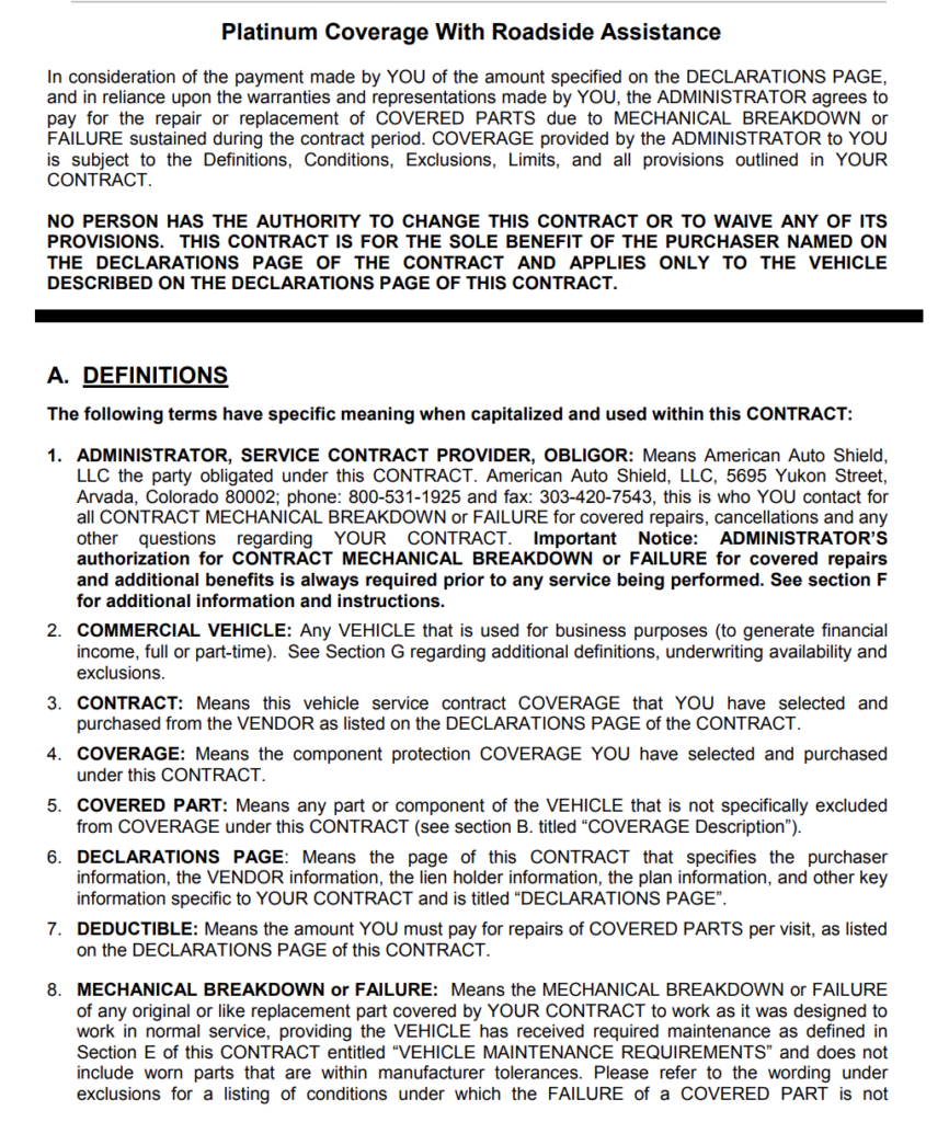 Sample CARCHEX vehicle service contract.