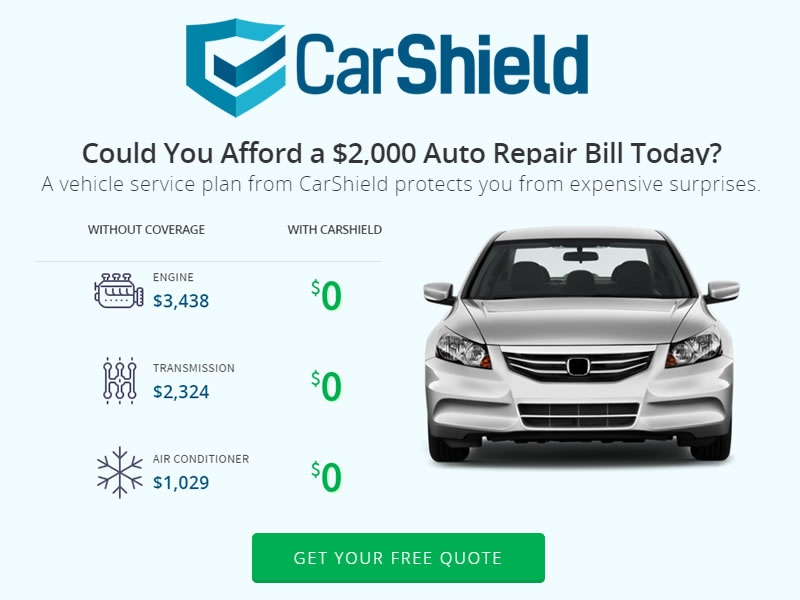 The image is a link to a page that provides direct quotes for CarShield prices.