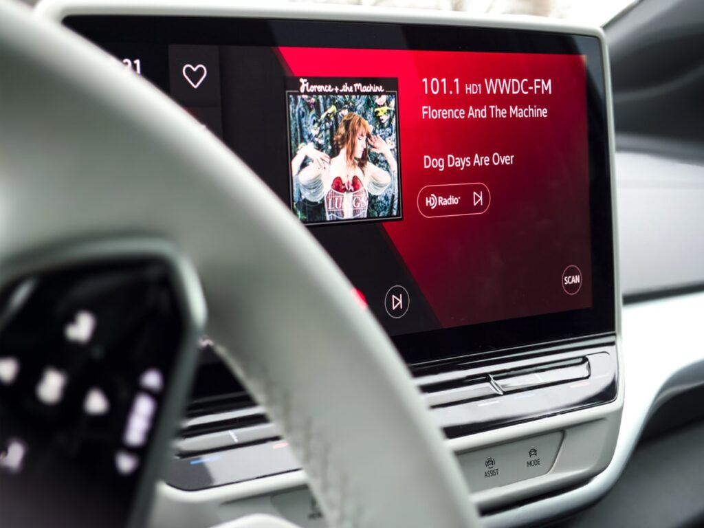 Touch screen inside of a car.