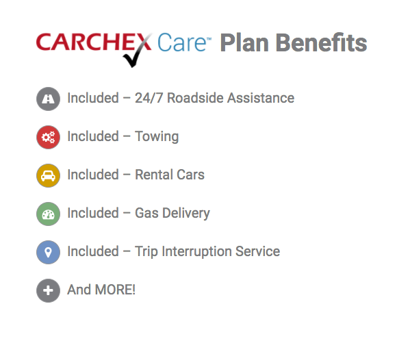 CARCHEX benefits like roadside assistance, towing, rental cars, gas delivery, and trip interruption service.