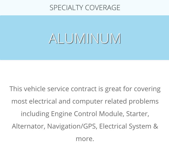 A description of the CarShield Aluminum Plan from the CarShield website at: https://carshield.com/protection-plans/