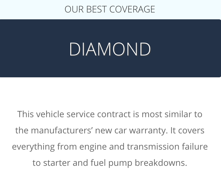 A description of the CarShield Diamond Plan from the CarShield website at: https://carshield.com/protection-plans/