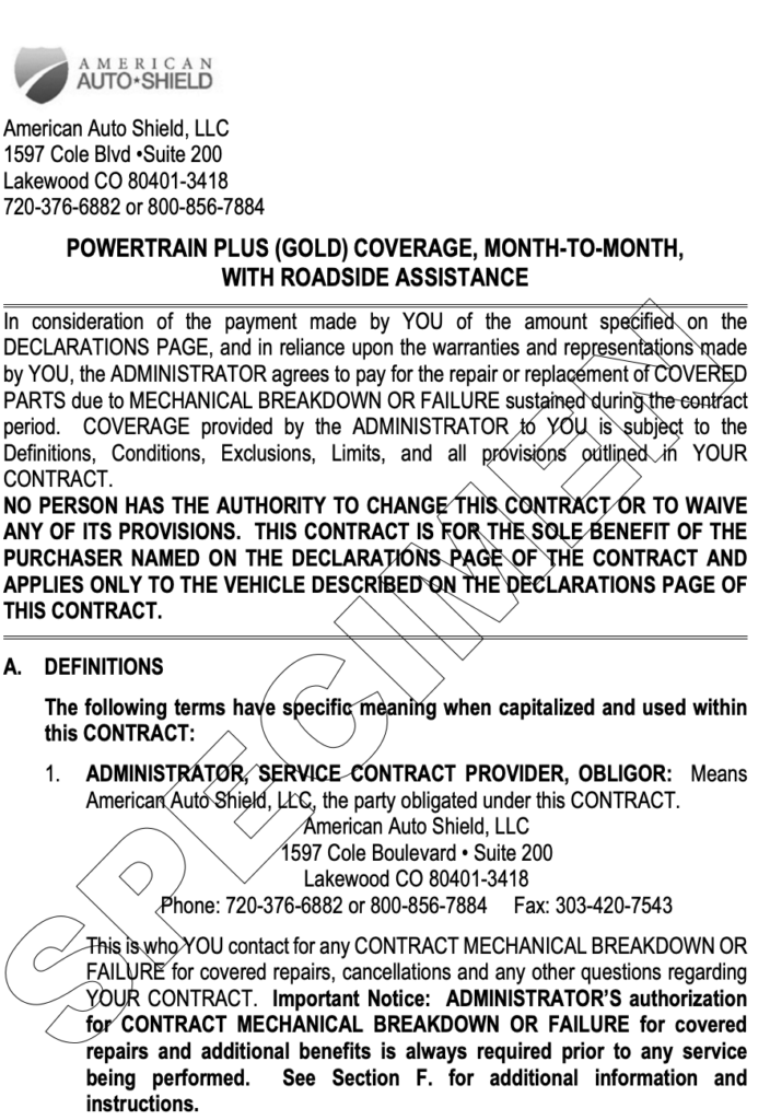 An image of a sample contract of this plan from the CarShield website.