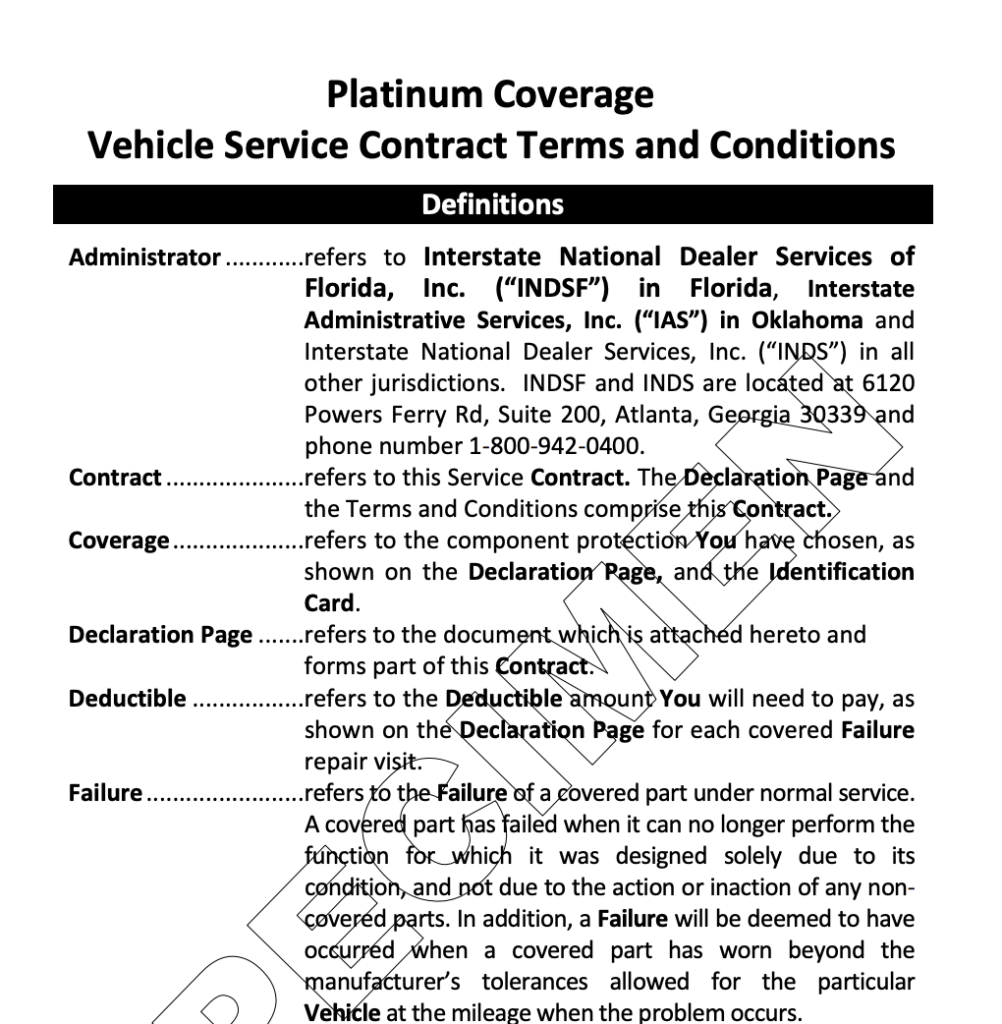 A screenshot of a CarShield sample contract.