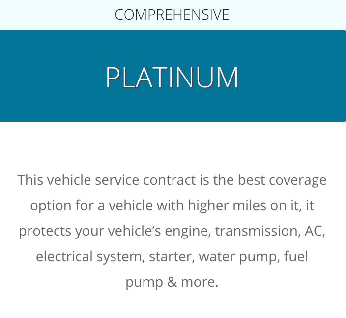 A description of the CarShield Platinum Plan from the CarShield website at: https://carshield.com/protection-plans/