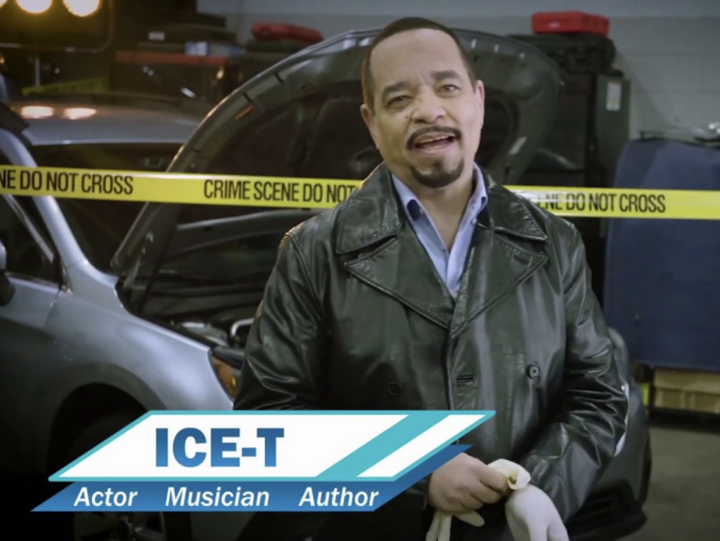 ICE-T at a fictional crime scene in a CarShield commercial.
